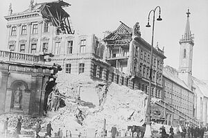 The Albertina building, destroyed in an air raid in March 1945