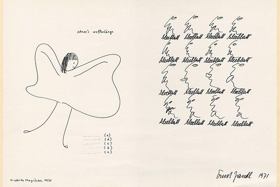 Drawing by Friederike Mayröcker, text by Ernst Jandl, 1971