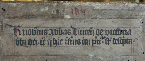 Title and reference label (=Holveld reference) from the Salzburg Cathedral Chapter Library from about 1433